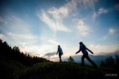 sunrise walking Ahrntal Valley Dolomites